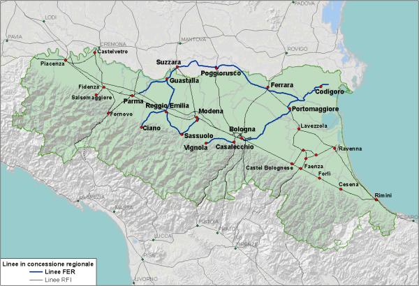 La rete ferroviaria della regione Emilia-Romagna